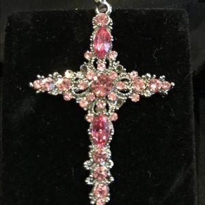 Pink rhinestone cross Pendant